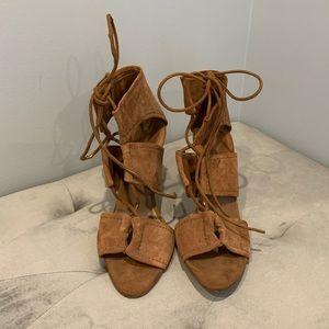 Zara Lace up wrap around Brown Sandals